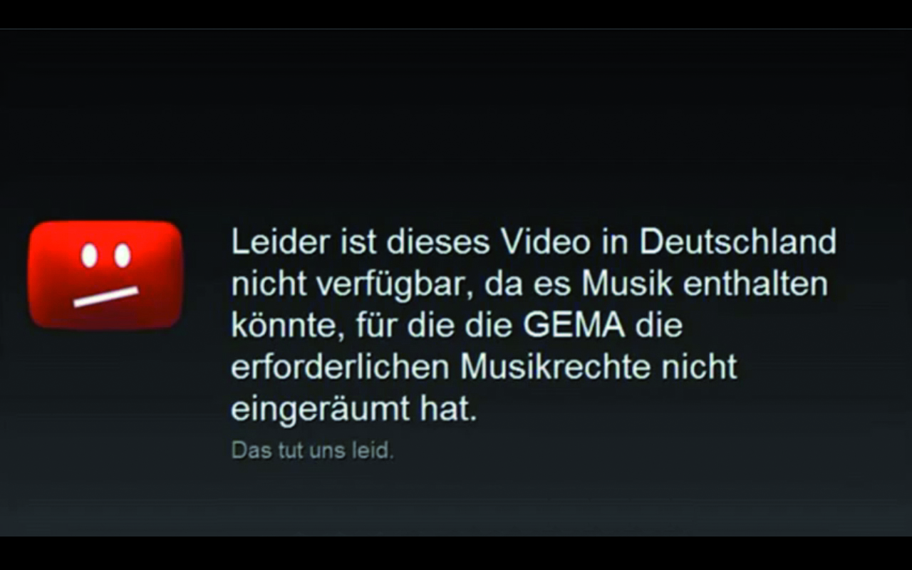 Youtube Einblendung bei fehlenden Musikrechten der GEMA