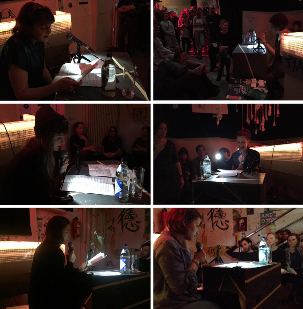"""Lesung """"Die Fremde in mir"""". Von links nach rechts: Sonja Steppan, Magdalena McFly, Caroline von Eichhorn, Mariya Vasilieva, Veronika Christine Dräxler und Anne Mona Hilliges."""